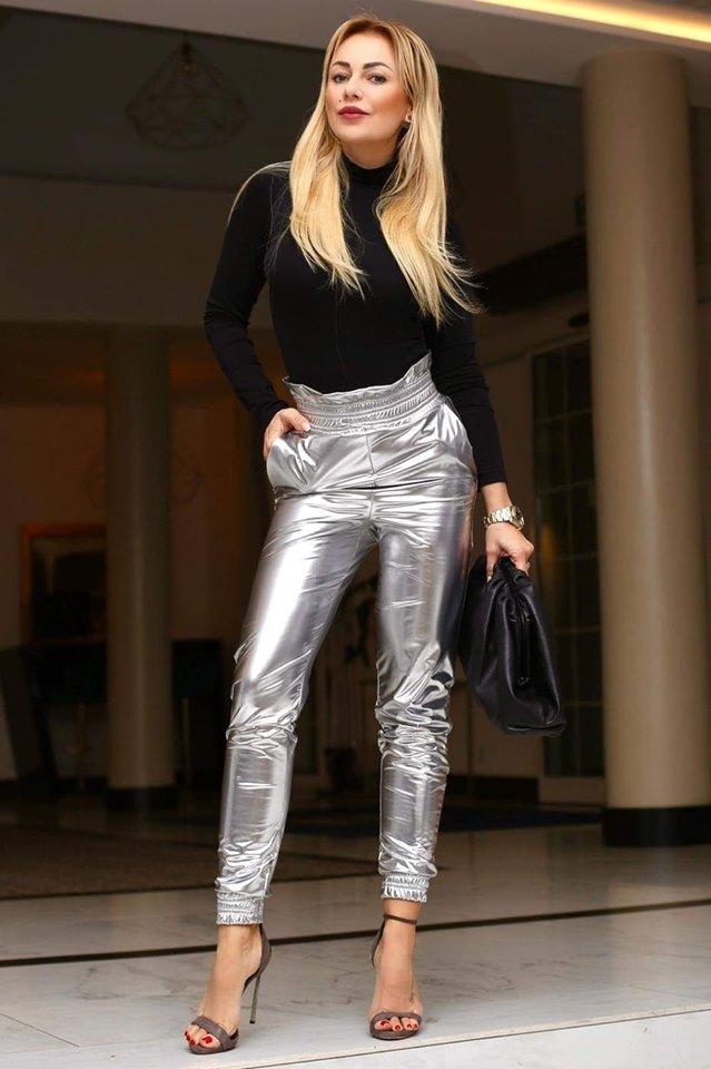 Dámske strieborné nohavice s vysokým pásom (Dámske strieborné nohavice s vysokým pásom)