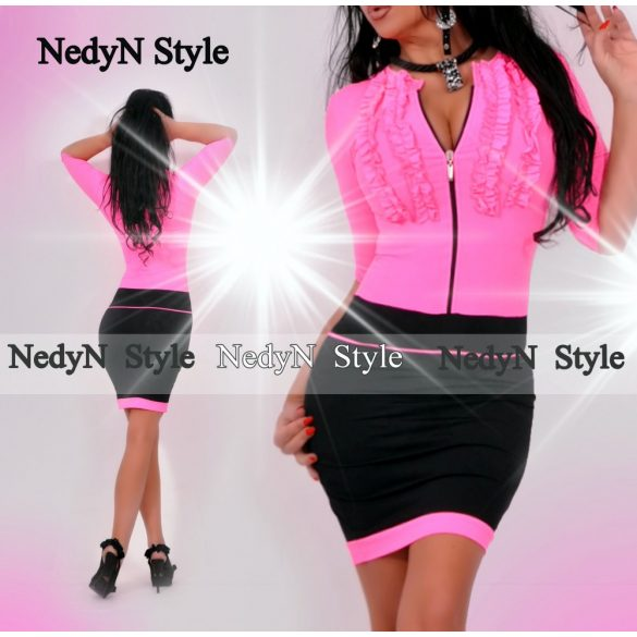 Dámske šaty neonovo ružové na zips (Krásne dámske šaty neonovo ružové na zips)