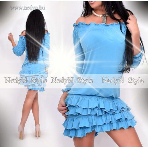 Dámske modré šaty s volánikmi (Dámske modré šaty s volánikmi)