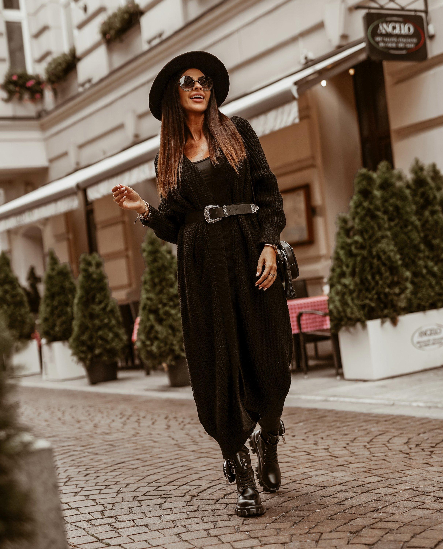 Dámsky dlhý čierny sveter (Dámsky dlhý čierny sveter)
