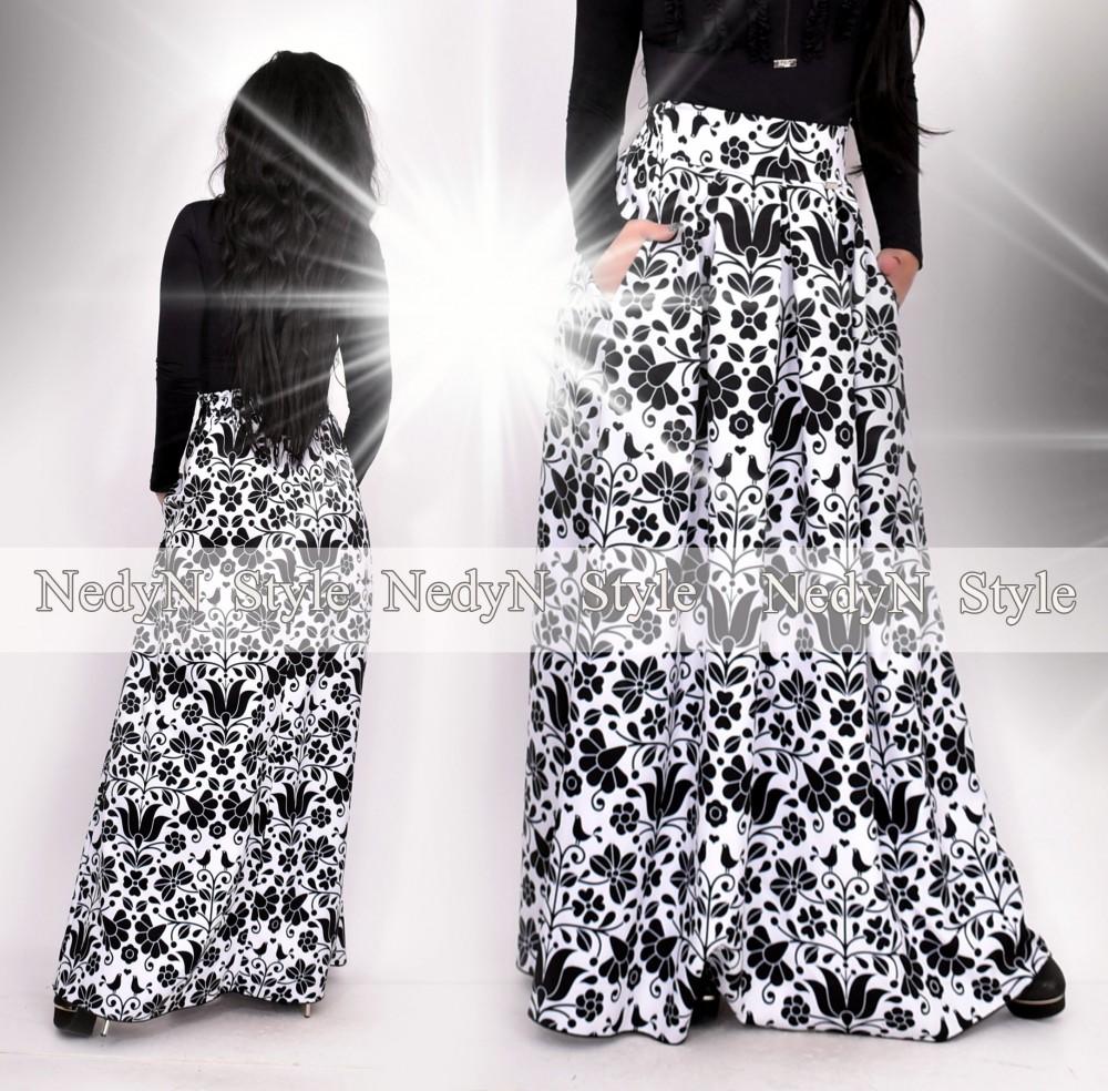 Dámska čierno-biela dlhá sukňa (Dámska čierno-biela dlhá sukňa)