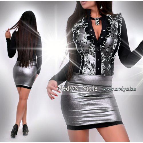 Dámske strieborno-čierne šaty (Dámske strieborno-čierne šaty)