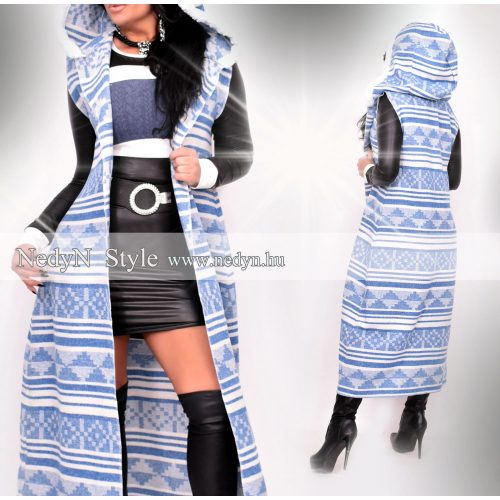 Dámska bielo-modrá dlhá vesta (Dámska bielo-modrá dlhá vesta)