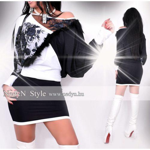 Dámske čierno-biele šaty s čípkou (Dámske čierno-biele šaty s čípkou)