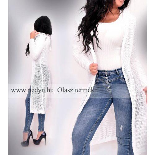 Dámsky biely dlhý pletený sveter (Dámsky biely dlhý pletený sveter)