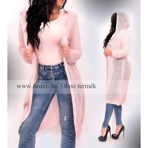 Dámsky slaboružový dlhý pletený sveter (Dámsky slaboružový dlhý pletený sveter)