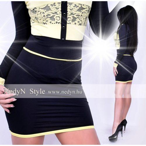 Dámska čierna sukňa s žltými pásikami (Dámska čierna sukňa s žltými pásikami)