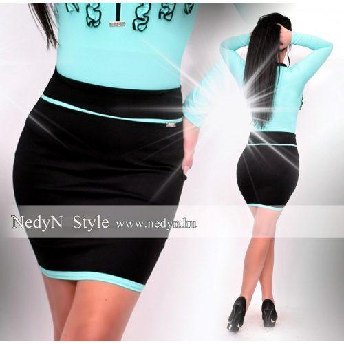 Dámska čierna sukňa s mentolovými pásmi (Dámska čierna sukňa s mentolovými pásmi)