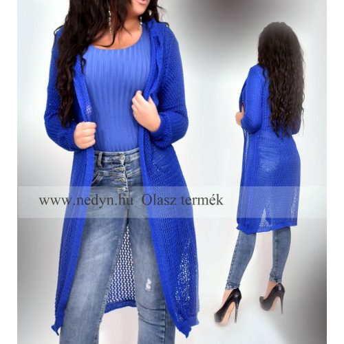 Dámsky modrý dlhý pletený sveter (Dámsky modrý dlhý pletený sveter)
