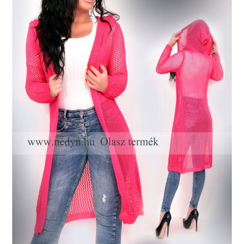 Dámsky ružový dlhý pletený sveter (Dámsky ružový dlhý pletený sveter)