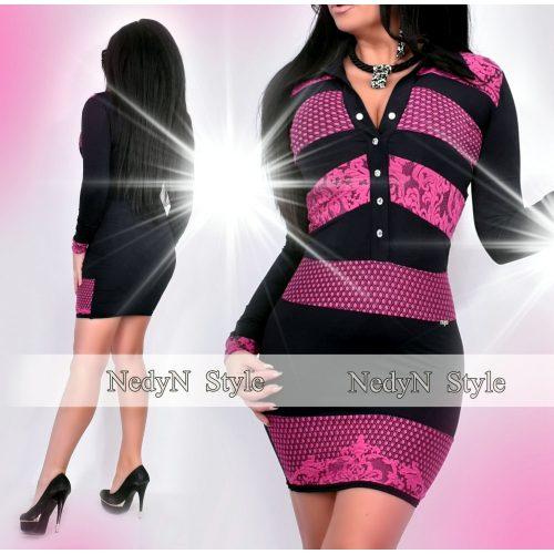 Dámske fialovo-čierne vzorované šaty (Dámske fialovo-čierne vzorované šaty)