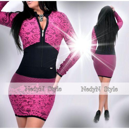 Dámske čierno-fialové vzorované šaty (Dámske čierno-fialové vzorované šaty)