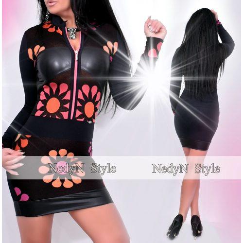 Dámske čierne šaty s kvetovým vzorom (Dámske čierne šaty s kvetovým vzorom)