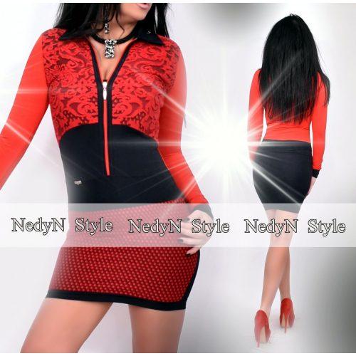 Dámske červeno-čierne vzorované šaty (Dámske červeno-čierne vzorované šaty)