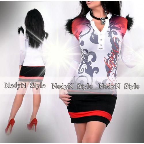 Dámske bielo-červeno-čierne šaty (Dámske bielo-červeno-čierne šaty)