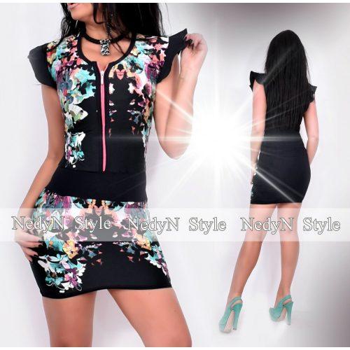 Dámske čierne šaty s motýľovým vzorom (Dámske čierne šaty s motýľovým vzorom)