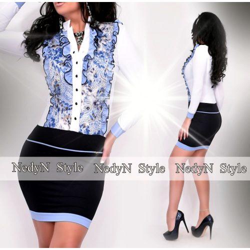 Dámske čierno-biele šaty s modrou čípkou (Dámske čierno-biele šaty s modrou čípkou)