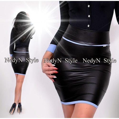 Dámska čierna koženková sukňa s pruhami (Dámska čierna koženková sukňa s pruhami)