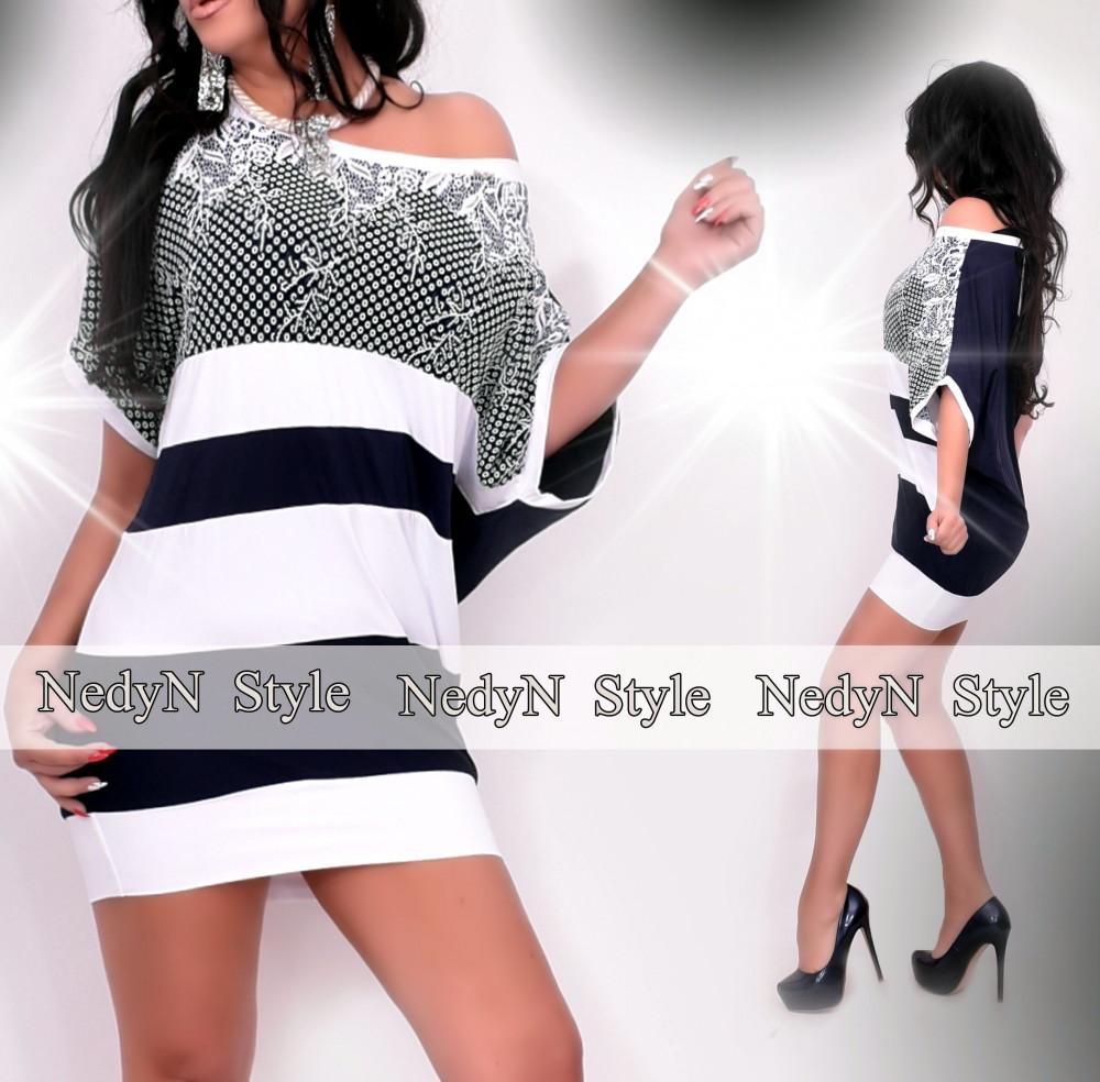 Dámske bielo-modré vzorované šaty (Dámske bielo-modré vzorované šaty)