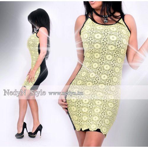 Dámske čipkované žlto-čierne šaty (Dámske čipkované žlto-čierne šaty)
