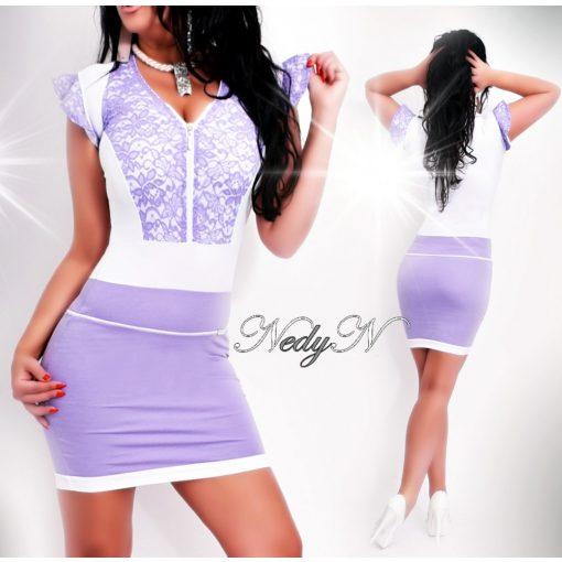 Dámske fialovo-biele čipkované šaty (Dámske fialovo-biele čipkované šaty)