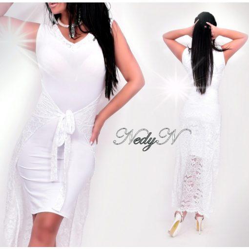 Dámske biele predĺžené čipkované šaty (Dámske biele predĺžené čipkované šaty)