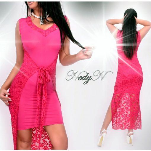 Dámske ružové predĺžené čipkované šaty (Dámske ružové predĺžené čipkované šaty)