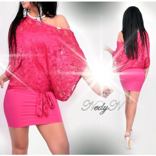 Dámske ružové čipkované šaty