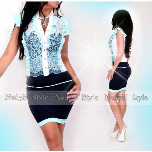 Dámske modré čipkované šaty