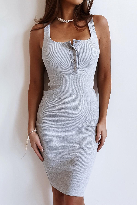 Dámske šedé šaty na ramienka (Dámske šedé šaty na ramienka)