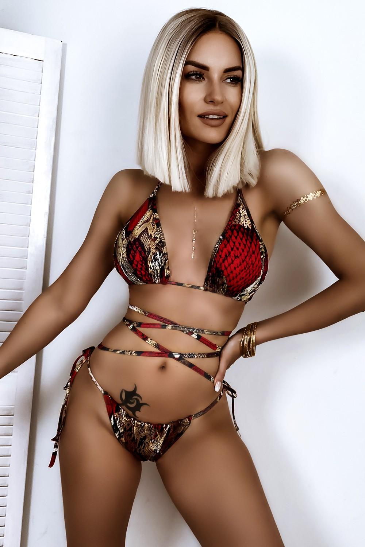 Dámske červeno-zlaté vzorované sexy bikini (Dámske červeno-zlaté vzorované sexy bikini)