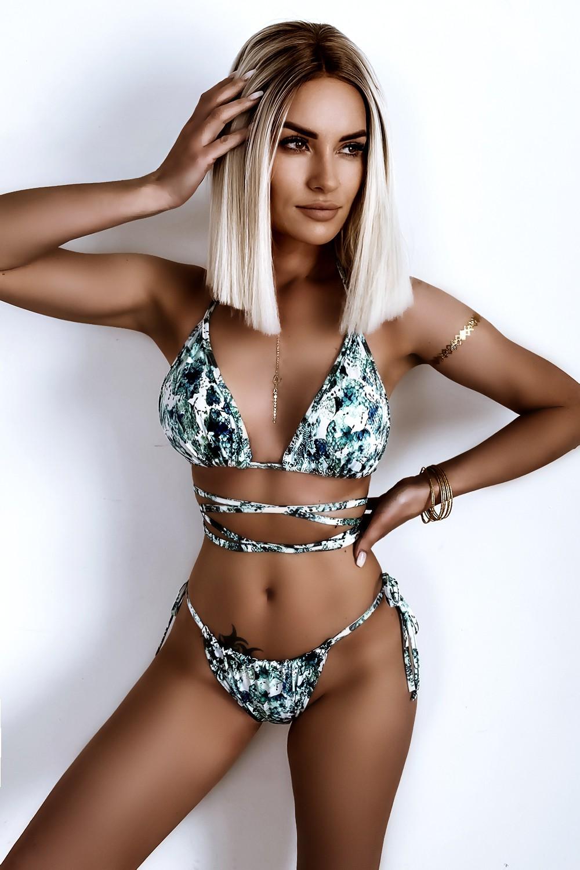 Dámske zeleno-čierno-biele vzorované sexy bikini (Dámske zeleno-čierno-biele vzorované sexy bikini)