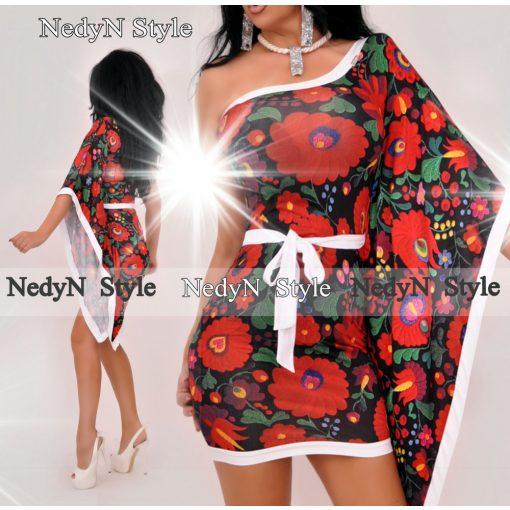 Dámske kvetované šaty na jedno rameno (Dámske kvetované šaty na jedno rameno)