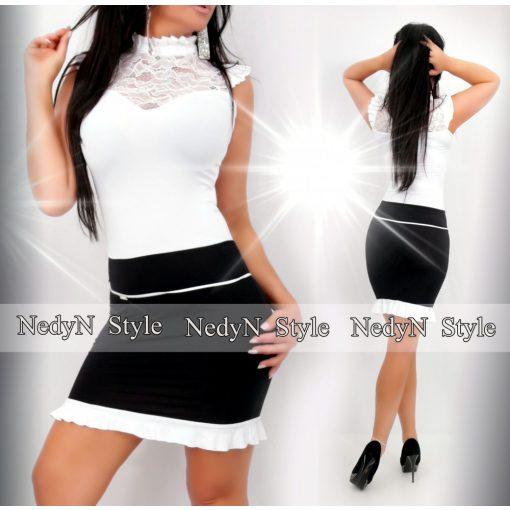 Dámske bielo-čierne čipkované šaty (Dámske bielo-čierne čipkované šaty)