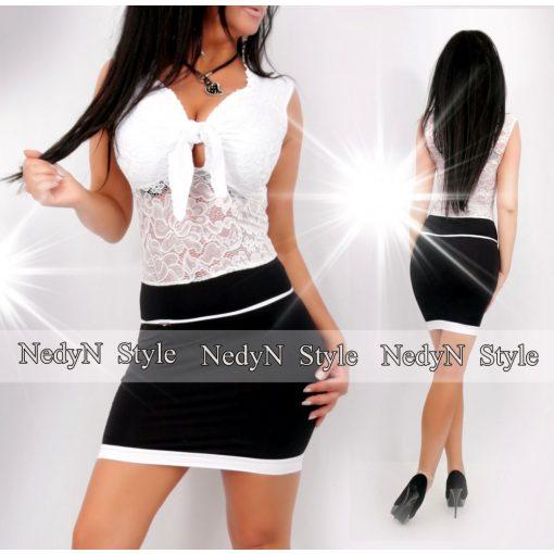 Dámske bielo-čierne šaty s čípkou (Dámske bielo-čierne šaty s čípkou)
