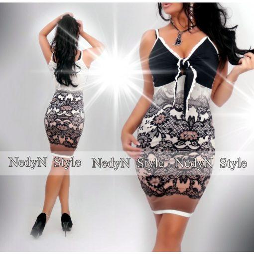 Dámske čierno-hnedé čipkované šaty (Dámske čierno-hnedé čipkované šaty)
