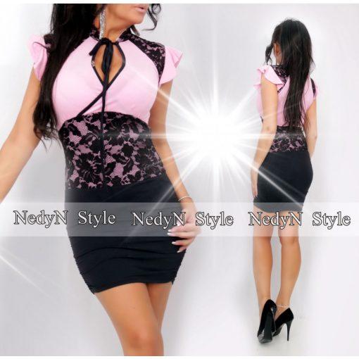 Dámske ružovo-čierne čipkované šaty (Dámske ružovo-čierne čipkované šaty)