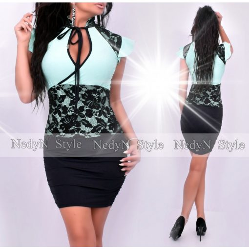 Dámske mentolovo-čierne šaty s čípkou (Dámske mentolovo-čierne šaty s čípkou)