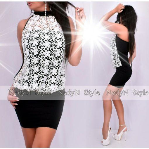 Dámske čierne šaty s bielou čípkou (Dámske čierne šaty s bielou čípkou)