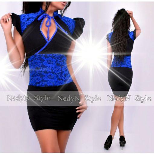 Dámske kráľovsky modro-čierne šaty s čípkou (Dámske kráľovsky modro-čierne šaty s čípkou)