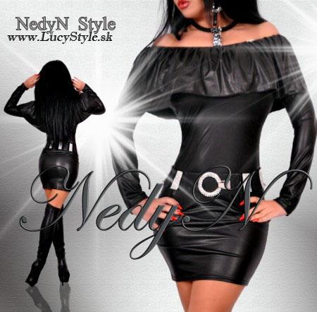Kozene saty s volánom,čierne šaty Nedyn
