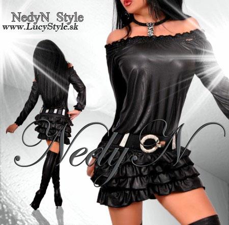 Čierne šaty s volánikmi,čierne kozene saty Nedyn