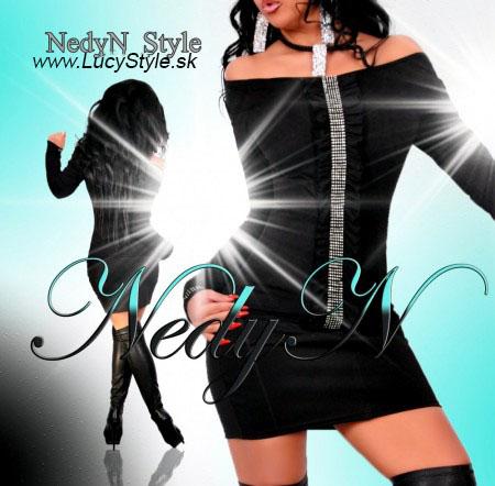 Čierny top s dlhým rukávom,dámske tričko- Nedyn