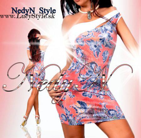 Kvetované šaty cez jedno rameno,Nedyn
