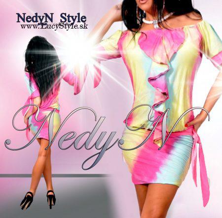 Dámske šaty s volánikmi,batikované- Nedyn