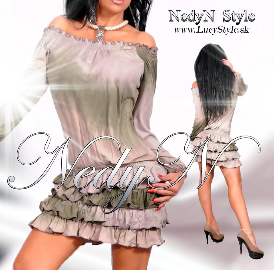 Dámske šaty s volánikmi,jesenné šaty- Nedyn