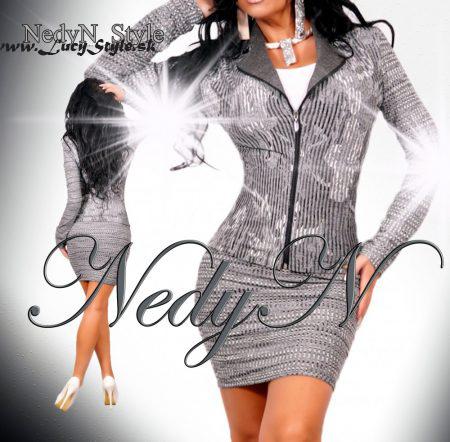 Vzorovaný dámsky kostým,sako na zips+ sukňa (Vzorovanýdámsky kostým,sako na zips+ sukňa)