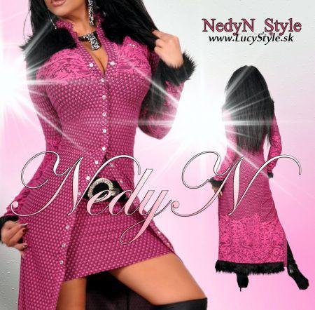 Dámsky komplet kabátik+suKňa v ružovo čiernej farbe