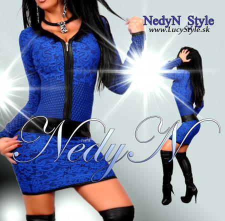 Dámske elegantné šaty (Dámske elegantné šaty,vzorované šaty modré)