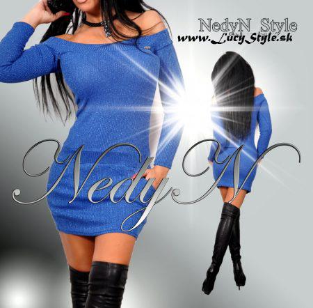 Úpletové modré šaty (Dámske šaty ,modré)